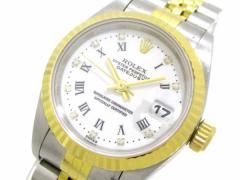 ロレックス 腕時計 デイトジャスト 69173G レディース K18YG×SS/10P旧ダイヤ/19コマ/ホワイトローマン 白×ダイヤモンド【中古】