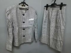 レリアン Leilian スカートスーツ サイズ11【M】 レディース 黒×白 肩パッド/千鳥格子【中古】