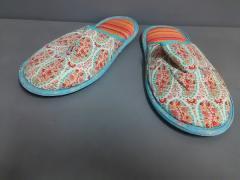 リバティ LIBERTY 靴 M/L レディース 美品 アイボリー×ライトブルー×マルチ スリッパ/花柄 コットン×化学繊維【中古】