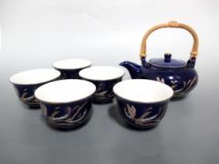カンサイ kansai 食器 新品同様 ブルー×ゴールド×マルチ 茶器セット(湯呑5客/急須1個) 陶器【中古】