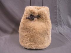 エリオポール heliopole トートバッグ ベージュ×ダークブラウン 巾着型 フェイクファー×合皮【中古】