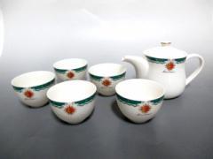 カンサイ kansai 食器 新品同様 白×グリーン ティーセット(カップ5客/ティーポット1個) 陶器【中古】