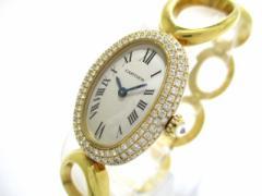カルティエ Cartier 腕時計 美品 ベニュワールSM - レディース 金無垢/ダイヤベゼル アイボリー【中古】