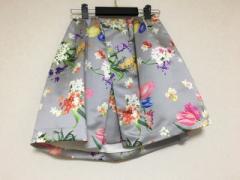 チェスティ Chesty スカート サイズ0 XS レディース 美品 ライトグレー×マルチ 花柄【中古】
