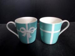 ティファニー TIFFANY&Co. マグカップ 新品同様 ブルーボウ ライトブルー×白 マグカップ×2 陶器【中古】