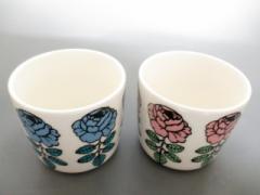 マリメッコ marimekko 食器 新品同様 白×黒×マルチ ペアカップ/花柄 陶器【中古】