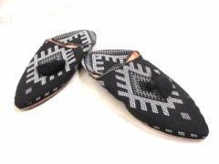 ファティマモロッコ Fatima Morocco 靴 レディース 黒×白×グレー バブーシュ ジャガード【中古】