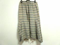 コムデギャルソン コムデギャルソン ロングスカート サイズS レディース ベージュ×グレー ボーダー/麻/AD2012【中古】
