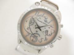ツモリチサト 腕時計 ビッグキャット VD53-D001 レディース 革ベルト/ラインストーン/シェル文字盤/クロノグラフ アイボリー【中古】