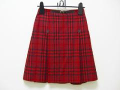 バーバリーブルーレーベル Burberry Blue Label スカート サイズ36 S レディース レッド×黒 チェック柄【中古】