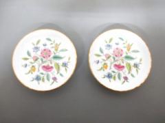 ミントン MINTON プレート 新品同様 白×ピンク×グリーン 小皿×2/花柄 陶器【中古】