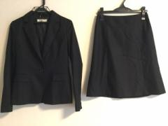ナチュラルビューティー ベーシック NATURAL BEAUTY BASIC スカートスーツ サイズM レディース 美品 黒 ストライプ【中古】
