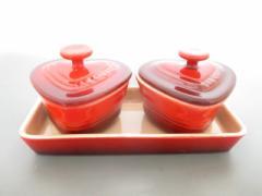 ルクルーゼ LE CREUSET 食器 新品同様 レッド ハート/ ココット×2、プレート×1 陶器【中古】