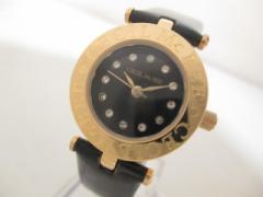 セシルマクビー CECILMcBEE 腕時計 美品 05-CE-001L レディース 革ベルト/ラインストーン 黒【中古】