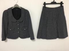 ミスJ missJ スカートスーツ サイズ09 M レディース ダークネイビー×白 チェック柄【中古】