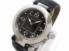 カルティエ Cartier 腕時計 パシャCスモールデイト W3106099 レディース SS×革ベルト/2002年クリスマス限定モデル 黒【中古】
