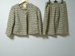 ビームスハート BEAMSHEART スカートスーツ サイズ0 XS レディース ベージュ×黒×マルチ ツイード【中古】
