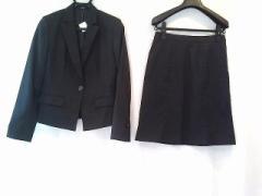 コムサイズム COMME CA ISM スカートスーツ サイズM レディース 美品 ネイビー×ブラウン ストライプ【中古】
