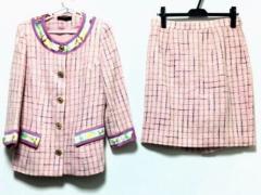 レオナール LEONARD スカートスーツ サイズ40 M レディース ピンク×マルチ ツイード/ラメ【中古】