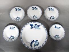 ユキコハナイ YUKIKO HANAI プレート 新品同様 白×ブルー 大皿×1/小皿×5 陶器【中古】