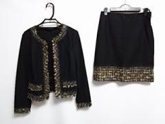 アナイ ANAYI スカートスーツ サイズ36 S レディース 黒×アイボリー×ブラウン 切りっぱなし加工【中古】