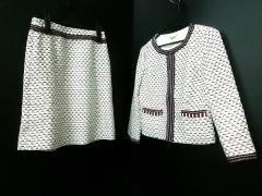 ハロッズ HARRODS スカートスーツ サイズ1 S レディース 美品 白×レッド×ダークネイビー 編みこみ【中古】