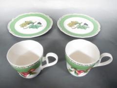 ノリタケ Noritake 食器 新品同様 カーキ×白×マルチ カップ×2、プレート×2 陶器【中古】