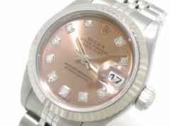 ロレックス ROLEX 腕時計 美品 デイトジャスト 79174G レディース K18WG×SS/10P新型ダイヤ/16コマ ピンク【中古】