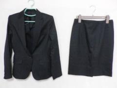 アンタイトル UNTITLED スカートスーツ レディース 黒×ピンク×グレー ストライプ【中古】