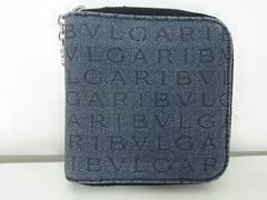 ブルガリ BVLGARI 2つ折り財布 美品 ロゴマニア ネイビー ラウンドファスナー ジャガード【中古】