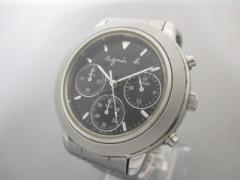 アニエスベー agnes b 腕時計 V654-6100 ボーイズ クロノグラフ 黒【中古】