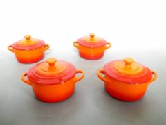 ルクルーゼ LE CREUSET 食器 新品同様 オレンジ×レッド ミニココット×4 陶器【中古】