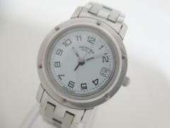 エルメス HERMES 腕時計 美品 クリッパー CL4.210 レディース 白【中古】