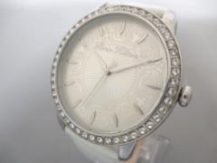 パリス・ヒルトン Paris Hilton 腕時計 美品 138.5188.60 レディース 革ベルト/型押し加工/ラインストーンベゼル シルバー【中古】