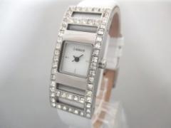 モルガン MORGAN 腕時計 美品 M770W レディース 革ベルト/ラインストーンベゼル 白【中古】