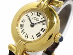 カルティエ Cartier 腕時計 マストコリゼ - レディース 925/革ベルト 白【中古】