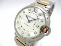 カルティエ Cartier 腕時計 バロンブルーMM WE902031 ボーイズ SS×PG/11Pダイヤ ゴールド【中古】
