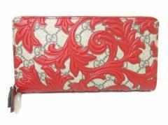 グッチ 長財布 美品 アラベスク 410102 ベージュ×ダークブラウン×レッド ラウンドファスナー PVC(塩化ビニール)×レザー【中古】