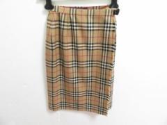 バーバリーズ Burberrys 巻きスカート サイズ7 S レディース ベージュ×黒×マルチ チェック柄/ほつれ加工【中古】