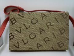 ブルガリ BVLGARI 財布 マキシロゴ ベージュ×ダークブラウン×ピンク ジャガード×レザー【中古】