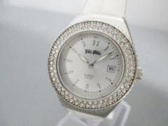 フォリフォリ FolliFollie 腕時計 美品 F212/LS レディース 革ベルト/ラインストーンベゼル シルバー【中古】