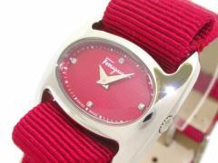 フェラガモ SalvatoreFerragamo 腕時計 美品 ヴァリナ - レディース SS/4Pダイヤ ピンクレッド【中古】