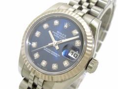 ロレックス ROLEX 腕時計 デイトジャスト 179174G レディース K18WG×SS/10P新型ダイヤ/20コマ+余り1コマ ネイビー【中古】