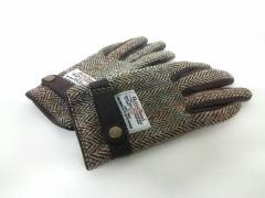 ハリスツイード 手袋 レディース 美品 ベージュ×ダークブラウン×マルチ チェック柄/HK WORKS LONDON ウール×レザー【中古】