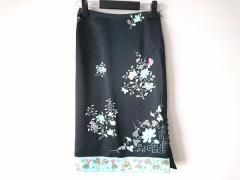 スーナウーナ SunaUna スカート レディース 新品同様 黒×ライトグリーン×マルチ 花柄【中古】