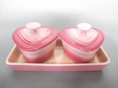 ルクルーゼ LE CREUSET 食器 レディース 新品同様 ピンク ココット×2、プレート×1/ハート 陶器【中古】