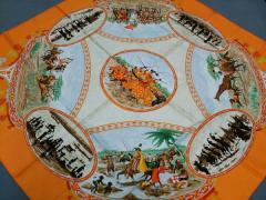 エルメス HERMES スカーフ レディース 美品 カレ オレンジ×ベージュ×マルチ 馬【中古】