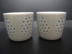マリメッコ marimekko 食器 新品同様 アイボリー×ライトグレー×ブルー ペアカップ/花柄 陶器【中古】