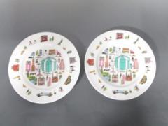 ティファニー TIFFANY&Co. 食器 レディース 新品同様 5thアベニュー アイボリー×グリーン×マルチ プレート×2 陶器【中古】