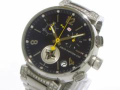 ヴィトン 腕時計 タンブール ラブリーカップ Q11BK メンズ SS/クロノグラフ/12Pダイヤ/ラグダイヤ ダークネイビー【中古】